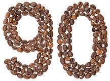 Arabiskt tal 90, nittio, från kaffebönor som isoleras på vit royaltyfria foton