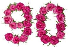 Arabiskt tal 90, nittio, nio, från röda blommor av steg, isolaen Arkivbild