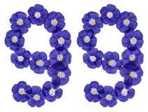 Arabiskt tal 99, nittionio, från blåa blommor av lin, isola Royaltyfri Foto