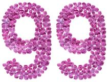 Arabiskt tal 99, nittionio, från blommor av lilan som isoleras Arkivbilder