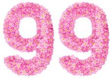 Arabiskt tal 99, nittionio, från rosa förgätmigej blommar, Fotografering för Bildbyråer