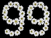 Arabiskt tal 99, nittionio, nittio, nio, från vita blommor Royaltyfri Fotografi