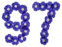 Arabiskt tal 97, nittiosju, från blåa blommor av lin, isolator Arkivfoto