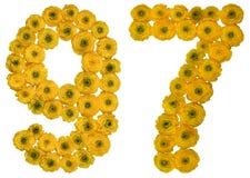 Arabiskt tal 97, nittiosju, från gula blommor av buttercuen Arkivfoto