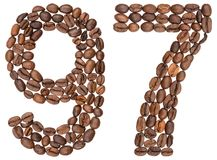 Arabiskt tal 97, nittiosju, från kaffebönor som isoleras på Royaltyfri Bild