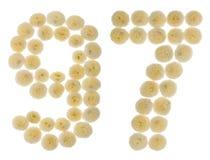 Arabiskt tal 97, nittiosju, från kräm- blommor av chrysanth Arkivfoton