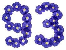 Arabiskt tal 93, nittiotre, från blåa blommor av lin, isolator Fotografering för Bildbyråer