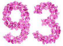 Arabiskt tal 93, nittiotre, från blommor av altfiolen som isoleras Fotografering för Bildbyråer