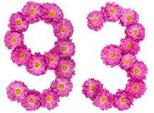 Arabiskt tal 93, nittiotre, från blommor av krysantemumet, Arkivfoton