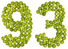 Arabiskt tal 93, nittiotre, från gröna ärtor som isoleras på wh Arkivbild