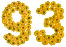 Arabiskt tal 93, nittiotre, från gula blommor av buttercuen Royaltyfria Foton