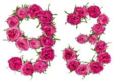 Arabiskt tal 93, nittiotre, från röda blommor av steg, isolaen Royaltyfri Foto