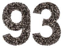 Arabiskt tal 93, nittiotre, från svart ett naturligt kol, Royaltyfri Fotografi