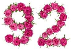 Arabiskt tal 92, nittiotvå, från röda blommor av rosen, isolat Arkivbild