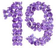Arabiskt tal 19, nitton, från blommor av altfiolen som isoleras på Arkivfoton