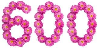 Arabiskt tal 600, sexhundra, från blommor av krysantemumet, Royaltyfri Fotografi