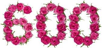 Arabiskt tal 600, sexhundra, från röda blommor av steg, isolaen Arkivbild