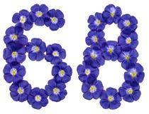Arabiskt tal 68, sextioåtta, från blåa blommor av lin, isola Arkivbild