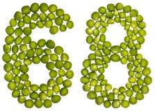Arabiskt tal 68, sextioåtta, från gröna ärtor som isoleras på whi Arkivbilder