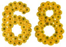 Arabiskt tal 68, sextioåtta, från gula blommor av smörblomman Royaltyfri Foto