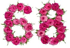 Arabiskt tal 68, sextioåtta, från röda blommor av steg, isolat Royaltyfri Bild