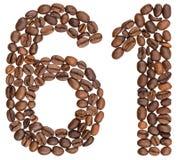 Arabiskt tal 61, sextio en, från kaffebönor som isoleras på whi Arkivbilder