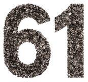 Arabiskt tal 61, sextio en, från svart ett naturligt kol, iso Fotografering för Bildbyråer