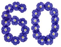 Arabiskt tal 60, sextio, från blåa blommor av lin som isoleras på Royaltyfri Foto