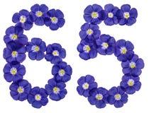 Arabiskt tal 65, sextiofem, från blåa blommor av lin, isolat Arkivbild