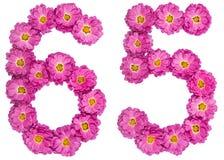 Arabiskt tal 65, sextiofem, från blommor av krysantemumet, är Royaltyfri Foto