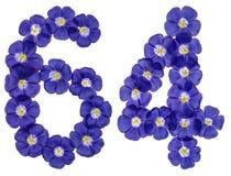 Arabiskt tal 64, sextiofyra, från blåa blommor av lin, isolat Fotografering för Bildbyråer