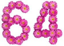 Arabiskt tal 64, sextiofyra, från blommor av krysantemumet, är Royaltyfria Foton