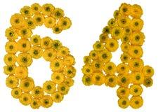 Arabiskt tal 64, sextiofyra, från gula blommor av smörblomman, Arkivbilder