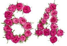 Arabiskt tal 64, sextiofyra, från röda blommor av rosen, isolat Royaltyfria Foton