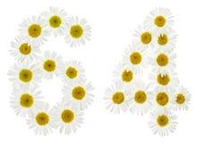 Arabiskt tal 64, sextiofyra, från vita blommor av kamomillen, Royaltyfri Fotografi
