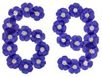 Arabiskt tal 69, sextionio, från blåa blommor av lin, isolat Royaltyfri Bild