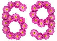 Arabiskt tal 69, sextionio, från blommor av krysantemumet, är Arkivbilder