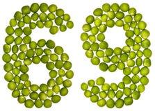 Arabiskt tal 69, sextionio, från gröna ärtor som isoleras på whit Arkivfoto