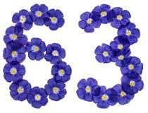 Arabiskt tal 63, sextiotre, från blåa blommor av lin, isola Fotografering för Bildbyråer