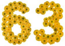 Arabiskt tal 63, sextiotre, från gula blommor av smörblomman Royaltyfri Fotografi
