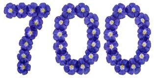 Arabiskt tal 700, sjuhundra, från blåa blommor av lin, är Royaltyfria Foton