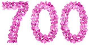 Arabiskt tal 700, sjuhundra, från blommor av altfiolen, isolat Arkivfoton