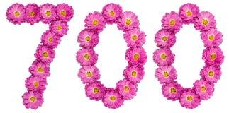 Arabiskt tal 700, sjuhundra, från blommor av krysantemumet Royaltyfri Foto
