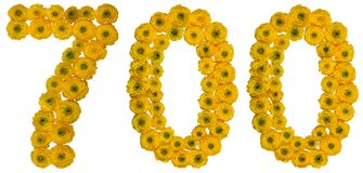 Arabiskt tal 700, sjuhundra, från gula blommor av smör Royaltyfria Foton