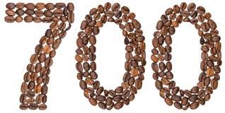 Arabiskt tal 700, sjuhundra, från kaffebönor, isolerade nolla Royaltyfri Foto