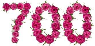 Arabiskt tal 700, sjuhundra, från röda blommor av steg, iso Arkivbilder