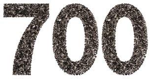 Arabiskt tal 700, sjuhundra, från svart ett naturligt kol Arkivbilder