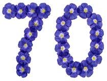 Arabiskt tal 70, sjuttio, från blåa blommor av lin som isoleras Arkivbild