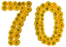 Arabiskt tal 70, sjuttio, sju, från gula blommor av smör Arkivfoton