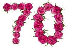 Arabiskt tal 70, sjuttio, sju, från röda blommor av steg, iso Arkivbild